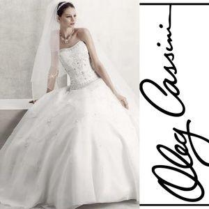 Oleg Cassini Satin Bodice Organza Wedding Dress